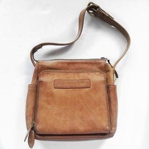 Vintage Fossil Distressed Leather Shoulder Bag